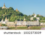 sagaing hill from ferry ... | Shutterstock . vector #1032373039