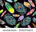 embroidery colorful seamless... | Shutterstock .eps vector #1032376621