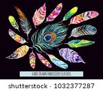 embroidery colorful... | Shutterstock .eps vector #1032377287