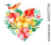 watercolor tropical bouquet... | Shutterstock . vector #1032377734