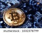 golden bitcoin. new virtual...   Shutterstock . vector #1032378799
