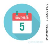 november 5 calendar icon flat | Shutterstock .eps vector #1032391477