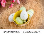 easter eggs decoration with... | Shutterstock . vector #1032396574