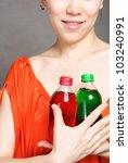 portrait of woman with bottle... | Shutterstock . vector #103240991