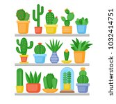 cactus and succulents plants... | Shutterstock .eps vector #1032414751