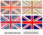 4 cute british flags in shabby... | Shutterstock .eps vector #103242401