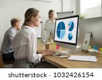 focused young woman works with... | Shutterstock . vector #1032426154
