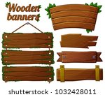 set of dark wooden banners 2.... | Shutterstock . vector #1032428011