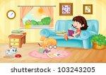 illustration of girls reading... | Shutterstock . vector #103243205