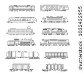 vector isolated trains and... | Shutterstock .eps vector #1032432955