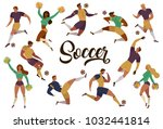 football soccer players... | Shutterstock .eps vector #1032441814