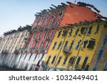 closeup reflection of colorful... | Shutterstock . vector #1032449401