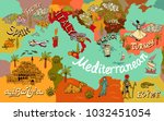 illustrated map of... | Shutterstock .eps vector #1032451054