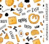 hand drawn sketch snack pattern.... | Shutterstock .eps vector #1032452149