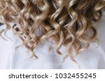 blonde curls styling hairstyle... | Shutterstock . vector #1032455245
