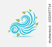 wind sign  wind blows leaves ... | Shutterstock . vector #1032457714