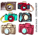 collection of vector hipster... | Shutterstock .eps vector #1032464809