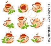 tea set. vector | Shutterstock .eps vector #1032469945