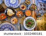 middle eastern or arabic dishes ... | Shutterstock . vector #1032480181
