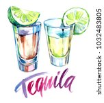 tequila shot with lime.... | Shutterstock . vector #1032483805