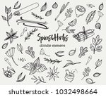set of various doodles  hand... | Shutterstock .eps vector #1032498664