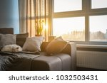 cozy family room with brown... | Shutterstock . vector #1032503431