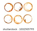 traces of a coffee cup  | Shutterstock . vector #1032505795