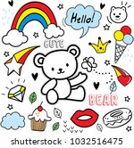 set of colorful doodle on white ...   Shutterstock .eps vector #1032516475