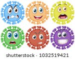 different facial expressions on ... | Shutterstock .eps vector #1032519421