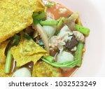 thai style noodle soup  yen ta...   Shutterstock . vector #1032523249