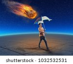 man holds an umbrella while... | Shutterstock . vector #1032532531