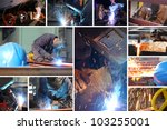Welder at work in metal industry, split screen - stock photo