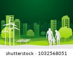 paper art and park on green... | Shutterstock .eps vector #1032568051