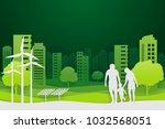 paper art and park on green... | Shutterstock .eps vector #1032568051