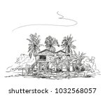 sketch of traditional cambodian ... | Shutterstock .eps vector #1032568057
