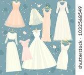 wedding dresses vector set... | Shutterstock .eps vector #1032568549