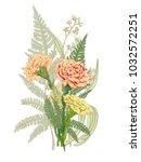 bouquet carnation schabaud ... | Shutterstock .eps vector #1032572251