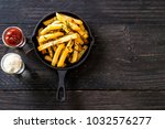 french fries with sauce  ... | Shutterstock . vector #1032576277