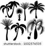 palm trees silhouette | Shutterstock .eps vector #1032576535