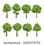 set of cartoon trees on white... | Shutterstock .eps vector #1032579751