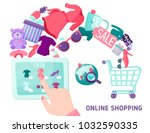 online shopping composition... | Shutterstock . vector #1032590335