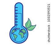earth planet inside thermometer ... | Shutterstock .eps vector #1032593521