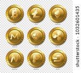 set of realistic 3d golden...   Shutterstock . vector #1032601435