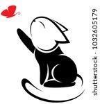 illustrations of black cat... | Shutterstock .eps vector #1032605179