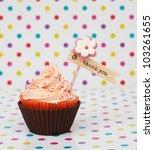 Pink Brown Thank You Cupcake