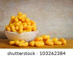 Bowl With Cheese Curls Snack