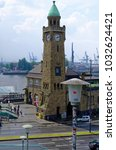 historic harbor in hamburg with ... | Shutterstock . vector #1032624421