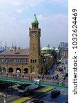 historic harbor in hamburg with ... | Shutterstock . vector #1032624469