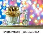 easter card. golden eggs in a... | Shutterstock . vector #1032630565