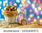 easter card. golden eggs in a... | Shutterstock . vector #1032630571